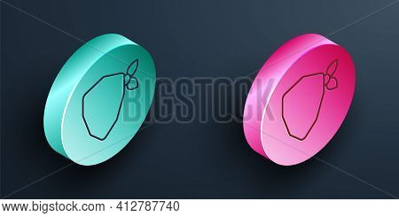 Isometric Line Vandal Icon Isolated On Black Background. Turquoise And Pink Circle Button. Vector