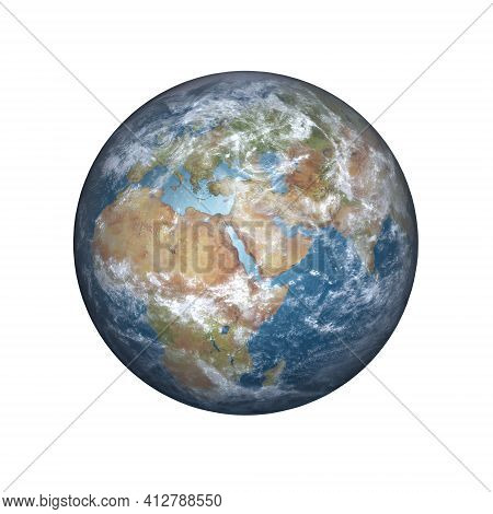 3d Rendering Of Planet Earth In Daylight Rotated To Show Africa, The Middle East And Europe, Isolate