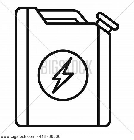 Hybrid Car Fuel Canister Icon. Outline Hybrid Car Fuel Canister Vector Icon For Web Design Isolated