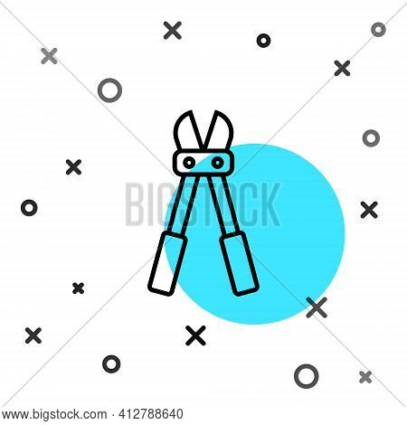 Black Line Bolt Cutter Icon Isolated On White Background. Scissors For Reinforcement Bars Tool. Rand