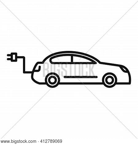 Hybrid Car Icon. Outline Hybrid Car Vector Icon For Web Design Isolated On White Background