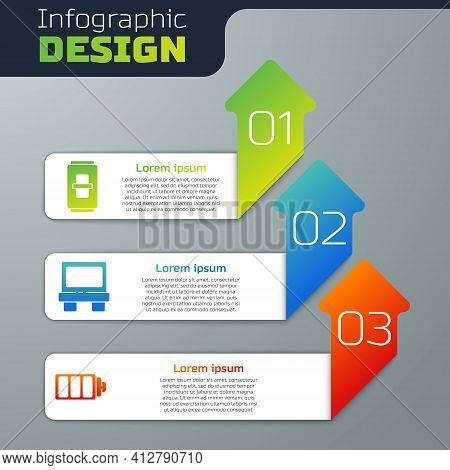 Set Electric Light Switch, Fuse And Battery Charge Level Indicator. Business Infographic Template. V