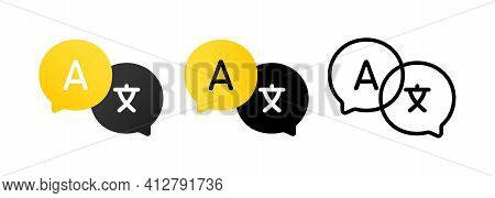 Language Translation Sign Icon Set. Dictionary. For Mobile App. Vector Eps 10. Isolated On White Bac