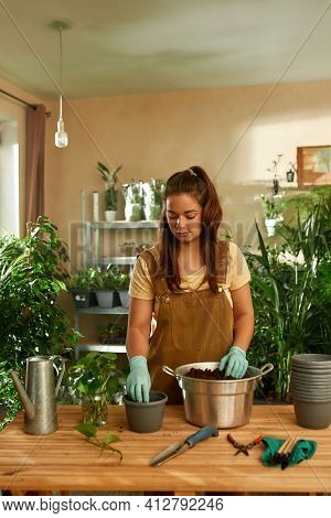 Girl Standing At The Table And Working With The Earth And New Plants. Home Garden Concept. Gardener