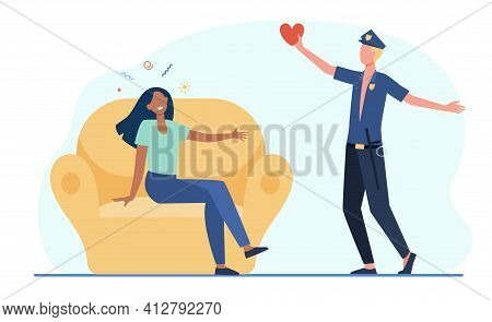 Caucasian Cop Man Confessing Love To African American Woman. Police Officer Flat Vector Illustration