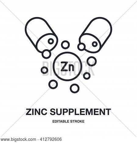 Zinc Capsule Editable Stroke Isolated On White Background Vector Illustration. Dietary Supplements C