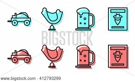 Set Line Wooden Beer Mug, Wild West Covered Wagon, Wild West Saddle And Wanted Western Poster Icon.