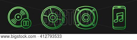 Set Line Stereo Speaker, Vinyl Disk, Cd Or Dvd Disk And Music Player. Gradient Color Icons. Vector
