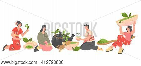 Banner With People Drink Green Tea Or Powdered Matcha Tea. Men And Women Brewing Fresh Green Tea Lea
