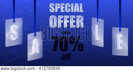 Sale Special Offer. Translucent Glass Or Plastic Cards With Letters On Blue Silk Ribbons With Blue B