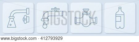 Set Line Water Tap, Industry Pipe And Valve, Water Tap And Bottle Of Water. White Square Button. Vec