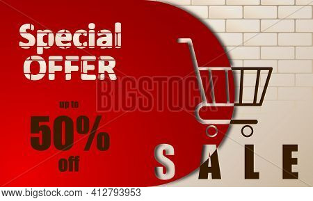 Sale Rectangular Banner, Special Offer. Shopping Cart Creative Design Against A Background Of Beige