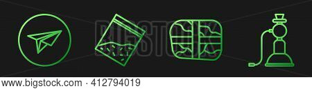 Set Line Package With Cocaine, Messenger, Plastic Bag Of Drug And Hookah. Gradient Color Icons. Vect