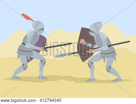 Knights Fighting With Sword And Spear, Holding Shields. Brave Medieval Solders Men People Duel. Flat