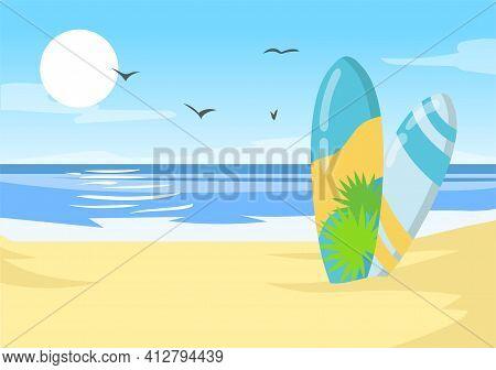 Surfboards On Hawaii Ocean Beach. Hawaiian Sea Shore Tropical Nature. Flat Vector Illustration. Summ