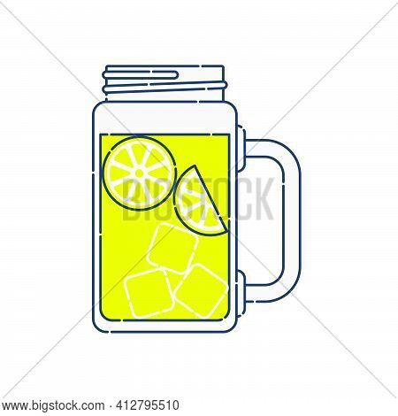 Jug Lemonade With Chunks Of Citrus And Ice. Line Art In Flat Style. Modern Stylish Liquid Jar. Resta