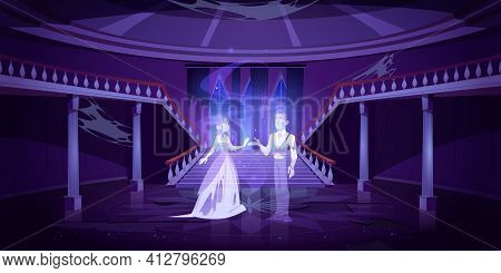 Old Castle Hall With Ghosts Dance In Palace Room