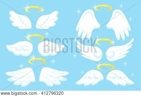 Creative Angel Wings With Gold Nimbus Flat Pictures Set For Web Design. Cartoon Collection Of Cute W