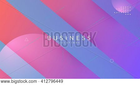 Dynamic Layout. Pink Vibrant Shape. Digital Pattern. Graphic Pag
