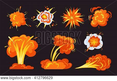 Trendy Bright Bomb Explosions Flat Pictures Collection. Cartoon Fire Bangs, Comic Dynamite Clouds An