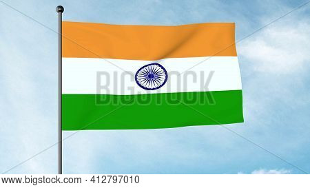 3d Illustration Of The National Flag Of India Is A Horizontal Rectangular Tricolour Of India Saffron