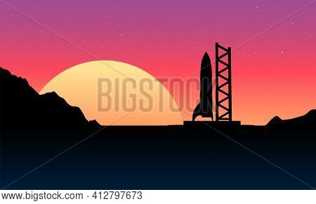 Space Rocket Ready To Start On Launching Site. Spaceship Silhouette Takeoff Countdown On The Sunset