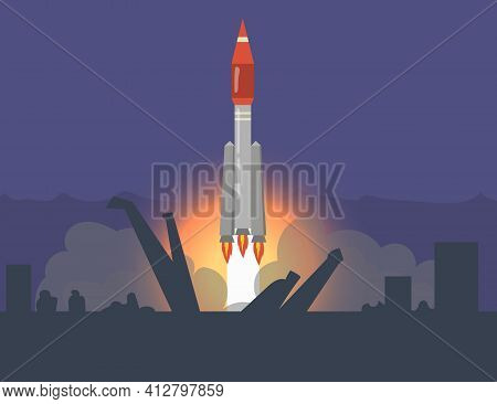 Rocket Launch From Cosmodrome. Spaceship Start At Space-vehicle Launching Site. Flat Vector Illustra