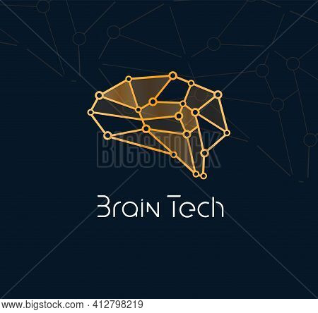 Brain Tech Logo Concept For New Communication Technology. Abstract Neuron Network Icon For Innovatio