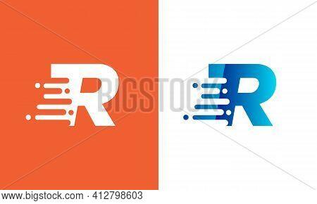 Technology Logo With R Letter. Modern R Letter Speed Logo Design. Creative Unique Elegant Geometric,
