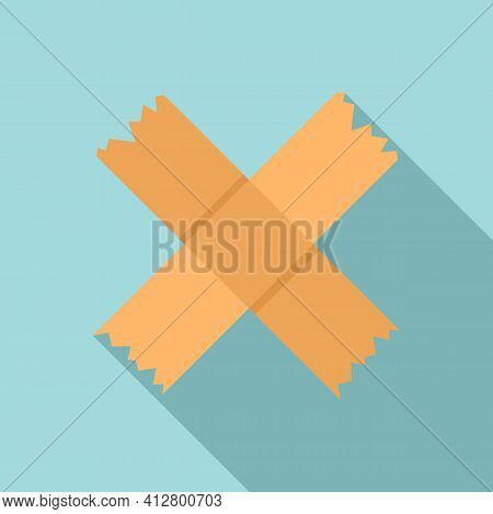 Cross Scotch Tape Icon. Flat Illustration Of Cross Scotch Tape Vector Icon For Web Design