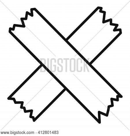 Cross Scotch Tape Icon. Outline Cross Scotch Tape Vector Icon For Web Design Isolated On White Backg