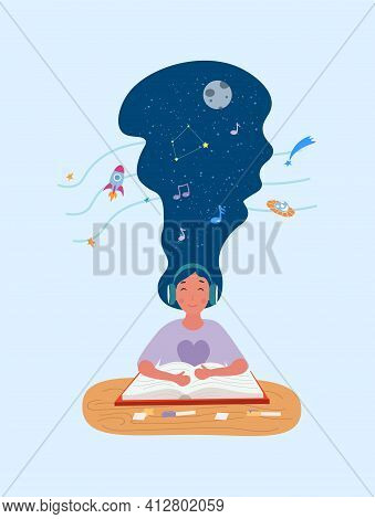 Calm Girl Is Reading A Book With Headphones On. Young Woman Sitting With Eyes Closed, Listening To M