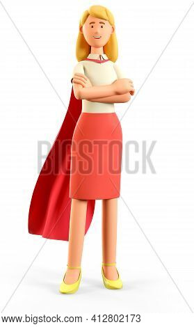 3d Illustration Of Standing Beautiful Blonde Woman In Superhero Cape With Crossed Arms. Portrait Of