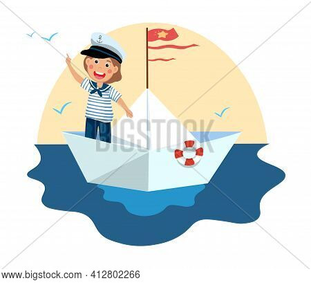 Cute Little Boy In Sailor Costume Standing On Paper Boat. Happy Smiling Kid Having Fun And Playing S