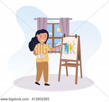 Cute Little Girl Drawing Colorful Painting. Smiling Child Painting Sun With Brush And Palette. Conce