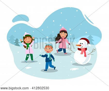 Happy Little Kids Having Fun Outdoors On First Snow Day Together. Concept Of Winter Outdoor Activiti