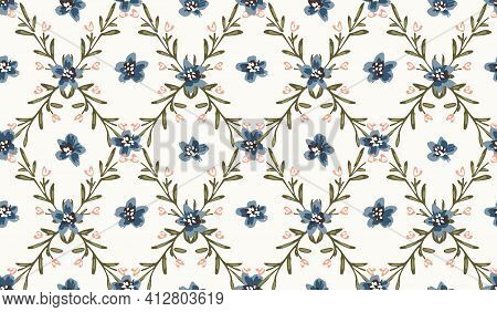 Porcelain Floral Seamless Vector Pattern. Beautiful Geometric Floral Design With Small Flowers Givin