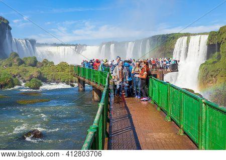 Iguazu, Argentina - May 02, 2016: Unidentified Tourists At The Iguazu Falls. It's One Of The New 7 W