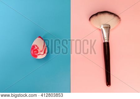 Make-up Sponge And Make-up Brush On Two Backgrounds
