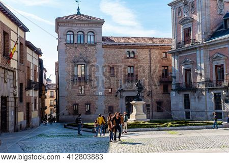 Madrid, Spain - November 1, 2020: View Of Historical Plaza De La Villa Square And Old Town Hall. Tou