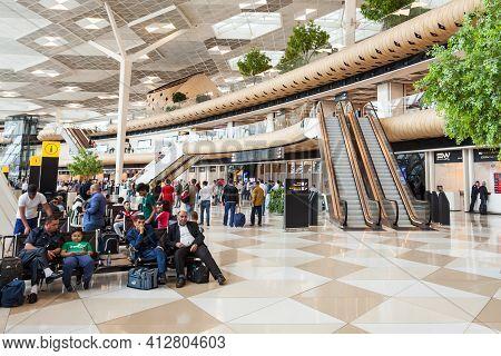 Baku, Azerbaijan - September 16, 2016: Baku Heydar Aliyev International Airport Interior. It Is  One