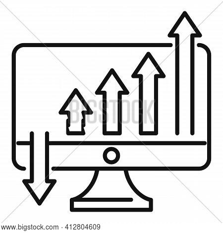 Increasing Graph Icon. Outline Increasing Graph Vector Icon For Web Design Isolated On White Backgro