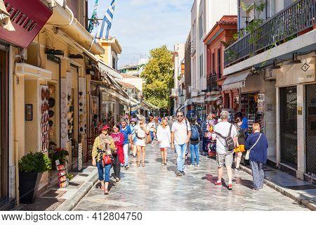 Athens, Greece - October 20, 2016: Pedestrian Souvenir Market Street In Plaka Region. Plaka Is The O