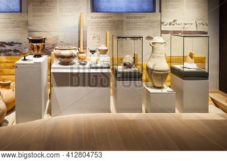 Ancient Corinth, Greece - October 18, 2016: The Archaeological Museum Of Ancient Corinth Is A Museum