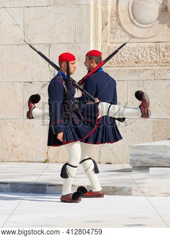Athens, Greece - October 20, 2016: Evzone Or Evzoni Guarding The Tomb Of The Unknown Soldier At The