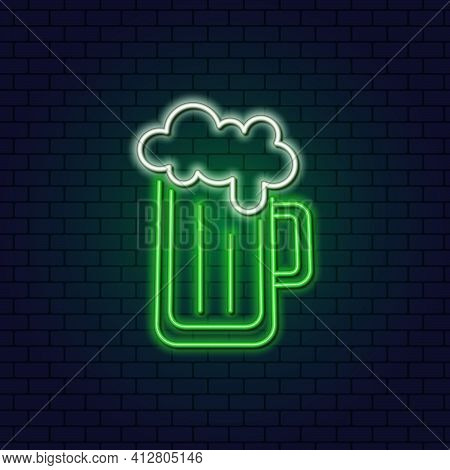 Neon Beer Mug With Foam. Patricks Day. Frothy Beer. Icon For An Irish Pub On St. Patricks Day.
