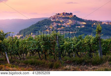 Antique city Motovun Croatia Istria. Picturesque panorama age-old village at hill with pink cloud and sunny light and authentic home with red tegular roof and green vineyard garden.