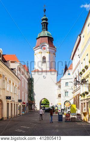 Krems An Der Donau, Austria - May 14, 2017: Steiner Tor Is A Gate In The City Of Krems An Der Donau,