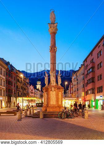 Innsbruck, Austria - May 21, 2017: St. Anna Column In The Capital City Of Tyrol Innsbruck, Austria.