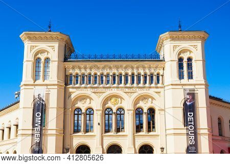 Oslo, Norway - July 20, 2017: Nobel Peace Center Or Nobels Fredssenter In Oslo, Norway. Centre Is A